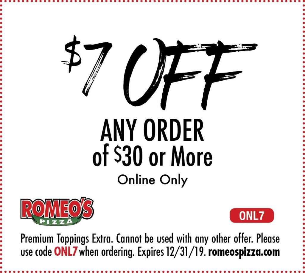 $7 off any order of $30 or more pizza coupon