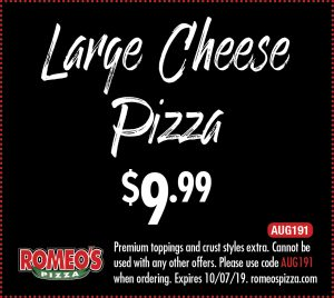 Large Cheese Pizza for 9.99